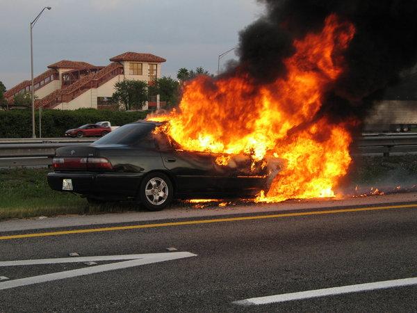 Fiery Car Crash In Detroit